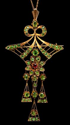Demantoid Garnet Jewelry Sale | Vintage Russian Demantoid Pendant - Brooch