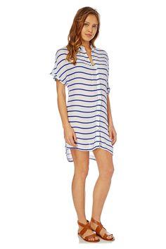 Venda Moda Unissexo / 27811 / Lingerie / Beachwear / Túnica riscas Branco e azul