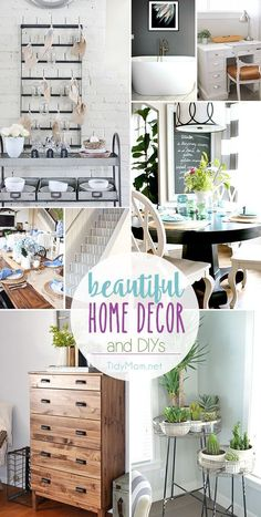 Beautiful Home Decor Ideas and DIY's. From a farmhouse kitchen, to a modern grey and white bathroom, to thirfty decor and basement stairs on a budget. You're sure to find plenty of inspiration for your home at http://TidyMom.net