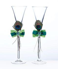 Peacock Toasting Glasses
