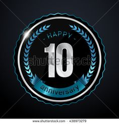 10 Years Silver anniversary logo, low poly design number