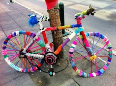 knit-bombed bike in Iceland