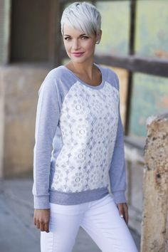 Comfy meets elegant with this crew neck sweater. Beautiful floral front lace detail. Soft fabric blend for a relaxed feel and look. Perfect to go with those jeans, leggings, and fall boots. Several colors to choose from. #eleganttops pickyourplum.com