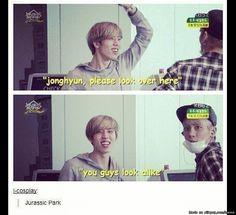 The dinosaur brothers Infinite Dongwoo and Shinee Jonghyun haha lol
