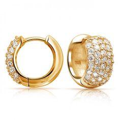 Bling Jewelry Gold Vermeil Pave CZ Wide Huggie Hoop Earrings 925 Sterling Silver