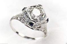 Antique .75ct Diamond & Sapphire 18K White Gold Ring sz 5-1/2     (300)
