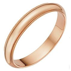 His Wedding Band  Image detail for -rose gold wedding band ring 18kt gold with beaded edge half round ...