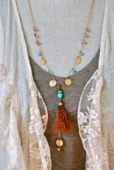Bohemian+beaded+coin+charm+tassel+necklace.+por+tiedupmemories