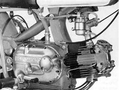 Close up view of the Long Rod Version Engine which had the undersquare Bore/Stroke, used a  Wet Multi-Plate Clutch on the Primary Side and had a 27mm Delorto Carb w/rubber mounted  remote Float Bowl. The later CR Engines had a 30mm Carb and the Final Imported engines  from 69-70 had 35mm Delorto Carb.