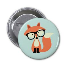 Cute Hipster Red Fox Pin
