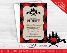 Black and Red Buffalo Plaid Baby Shower Invitations by Studio20Designs - Instant Download. This lumberjack invitation is 4x6 and comes as both a single pdf file and a letter size pdf with 2-up. All text is editable in the latest version of Adobe Reader. Perfect for foreign language baby shower invites and autumn or lumberjack theme birthday parties.