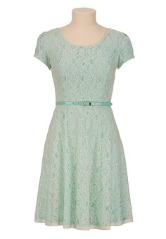 Belted Cap Sleeve Lace Dress available at #Maurices