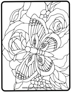 Beautiful butterfly and roses. Stained Glass Quilt, Stained Glass Flowers, Faux Stained Glass, Stained Glass Designs, Stained Glass Projects, Stained Glass Patterns, Mosaic Patterns, Pattern Art, Printable Flower Coloring Pages