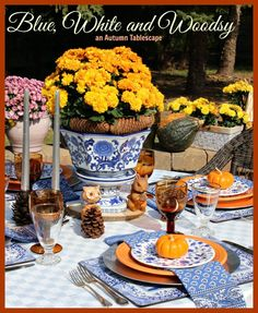 Imagine the beauty of Blue and White china in a woodsy outdoor setting!  See all of the details at mustlovehome.com
