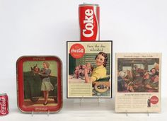 """Misc. Coca Cola lot including ceramic cookie jar (10"""" Ht.), tray and (2) signs"""
