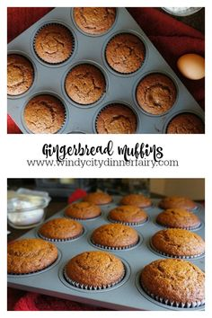 Gingerbread Muffins - The Windy City Dinner FairyThe Windy City Dinner Fairy Gingerbread Muffins Recipe, Gingerbread Cake, Gingerbread Houses, Jam Recipes, Muffin Recipes, Baking Recipes, Christmas Dishes, Christmas Baking, Holiday Baking