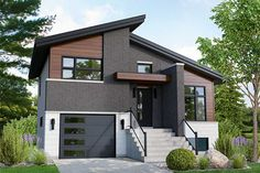 This contemporary split-level house is 32 feet 10 inches wide by 32 feet long, offering a living area of sq. It includes a 397 sq. garage that can house two small cars side by side. A cathedral ceiling is the highlight of the 590 sq. Small Modern House Plans, Modern House Design, Loft House, House Roof, Split Level House Plans, Split Level Home, Plans Architecture, Open Concept Floor Plans, Contemporary Style Homes