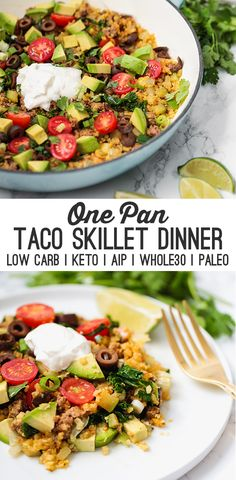 One Pan Taco Skillet Dinner (Paleo, Keto, AIP) - Unbound Wellness - This one-pan taco skillet dinner is so easy to make for a weeknight meal! It's dairy free, paleo, - Healthy Dinner Recipes, Paleo Recipes, Mexican Food Recipes, Healthy Dinner For One, Paleo Food, Healthy Food, Easy Paleo Meals, Seafood Recipes, Healthy Dinners For Two
