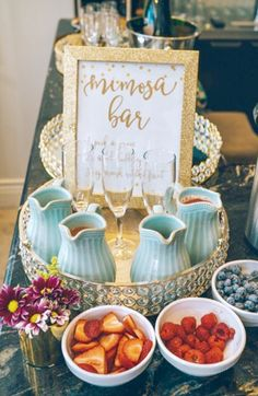 Having friends over or hosting a bridal shower? Create a cute DIY Mimosa Bar! Its easy and fun for guests! Outdoor Bridal Showers, Winter Bridal Showers, Tea Party Bridal Shower, Bridal Shower Signs, Gold Bridal Showers, Bridal Shower Rustic, Bridal Shower Desserts, Bridal Shower Fall, Receptions