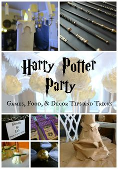 "Some good ideas here as well. I like the idea of using a spinner to determine what house you get sorted into (they each got two spins in case they were unhappy with the first) and then they used a baby monitor to have the sorting hat ""speak."" Harry Potter Party Games Food and Decor"