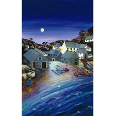 Cadgwith Cove by Moonlight | Gilly Johns