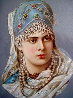 This Lovely Vintage Romanian Princess Die-Cut has a Jeweled Headdress.
