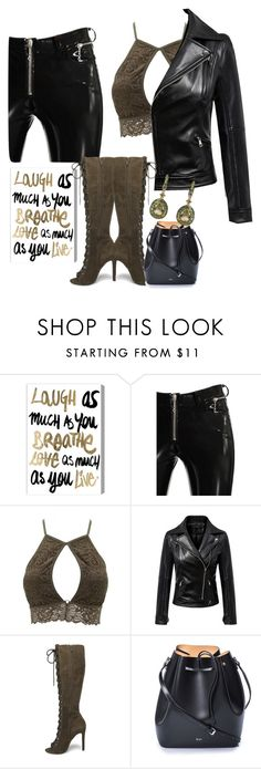 """""""leather and olive lace"""" by the-pug-life ❤ liked on Polyvore featuring Oliver Gal Artist Co., Alyx, Charlotte Russe, Chicnova Fashion, Steve Madden, N°21 and Annoushka"""