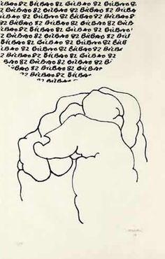 """Eduardo Chillida Serigrafía """"Bilbao - Mundial 1982"""" 1982 95 x 60 cm Tirada de 150 ejemplares Numerada y firmada a mano Van der Koelen nº 82012 Precio: 3.500 €"""