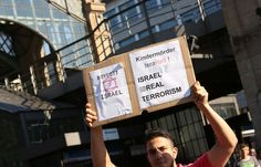 This photo shows a Pro Palestinian protest in Berlin Germany. The Protests started there on July 17.