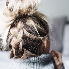 make your messy bun look fancy, just add plaits