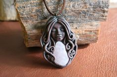 Rose Quartz Goddess Pendant  Healing Crystal by FaceARTifacts