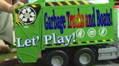 Garbage trucks empties Big Boat trash - let's play! #trucks #toys