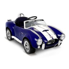 Electric Cars For Kids To Ride Boys Girls 6V Shelby Cobra One Seater Blue