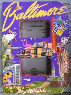 "Large ""Ravens purple"" Decoupage BALTIMORE 3-D Letter ""B"" with Landmarks & Memorabilia"