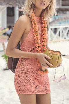 Halter Backless Hollow Out Crochet Knitting Beachwear