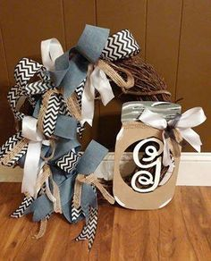 Mason Jar Flowers, Mason Jars, Honey Bunny, Burlap Wreath, Initials, Wreaths, Ribbon, Home Decor, Tape