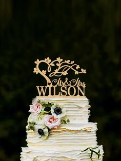 Mr & Mrs wedding cake topper with tree personalised mr and