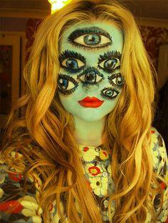 creative scary Halloween make up Looks Halloween, Cool Halloween Costumes, Fall Halloween, Happy Halloween, Halloween Party, Halloween Face Makeup, Creepy Halloween, Halloween Halloween, Halloween Clothes