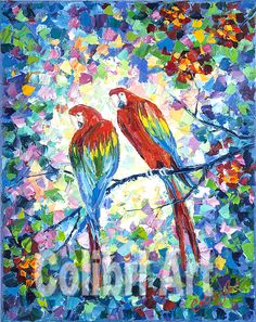 "Original Handmade Oil Painting The Feathered Couple (Birds) Colorful Multicolor painting 16"" x 20"" Gallery Canvas Impasto by Colibri Art Materials: gallery stretcher, oil paints, palette knife Painting  Oil  oil painting  colorful painting  original painting  painting for gift  pastose painting painting nursery  impressionism  exotic  exotic birds  parrots  ara  loving couple  tropics"