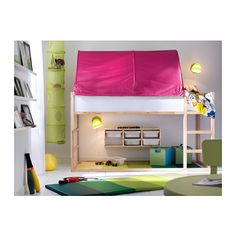 IKEA - A small kids' bedroom with plenty of space for both sleep and play, with a KLURA loft bed in solid pine and a green KURA bed tent.