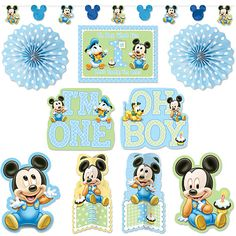 disney baby mickey shower party supplies | Mickey Mouse 1st Birthday Room Decorating Kit (10 pcs)