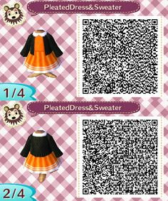 Pleated Dress and Sweater More Halloween stuff here. Halloween Tumblr, Halloween Stuff, Animal Crossing Qr Codes Clothes, Post Animal, New Leaf, Helpful Hints, Custom Design, Sweater, Nintendo