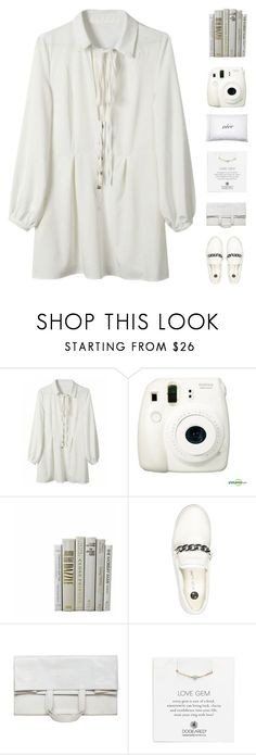"""""""I was being so inactive o-o"""" by ffashioninspire ❤ liked on Polyvore featuring Fujifilm, River Island, Maison Margiela, Dogeared, Kiki de Montparnasse, white, shirtdress, whitedress and whiteoutfit"""