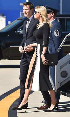 Ivanka showed off her fashion credentials arriving to Charleston International Airport wearing a trumpet flared skirt by David Koma. Photo: NICHOLAS KAMM/AFP/Getty Images