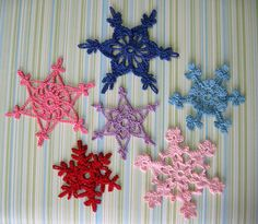 Crocheted Snowflakes Christmas Ornaments by GoldenLucyCrafts, $12.00