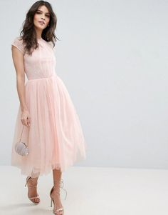 Asos Premium Lace Tulle Midi Prom Dress