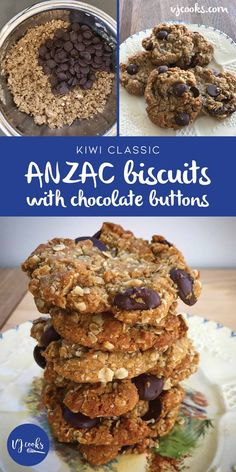 Easy ANZAC biscuits with chocolate buttons - Recipe by VJ cooks + Video Chocolate Muffins, Chocolate Recipes, Chocolate Chip Cookies, Biscuit Mix, Biscuit Cookies, Recipe For Anzac Biscuits, Button Recipe, Yummy Treats, Sweet Treats