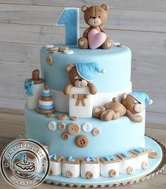 Teddy Bear Birthday Cake, Baby First Birthday Cake, Teddy Bear Cakes, Baby Boy Cookies, Torta Baby Shower, Baby Cakes, Ideas, Food, Tea Cakes