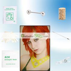 US$1.26 - SterilIized White Stud Studs Body Piercing Jewelry Needle Tool kit