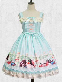 Sweet Lolita Dress JSK Blue Lolita Dress Printed Ruffle Bow Pleated Lolita Dress
